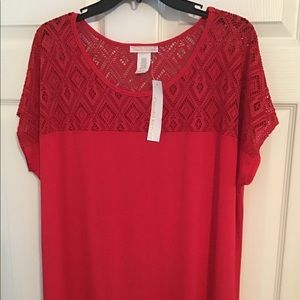 NWT Red Lace Round NeckTop Claudia Richard